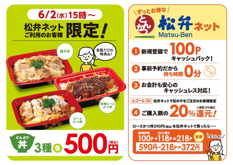 「松弁ネット会員様限定500円弁当」と「20%ポイント還元キャンペーン」