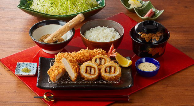 とんかつ新宿さぼてん・レストラン店舗で販売する「うなぎ巻きかつ御膳」(1830円)