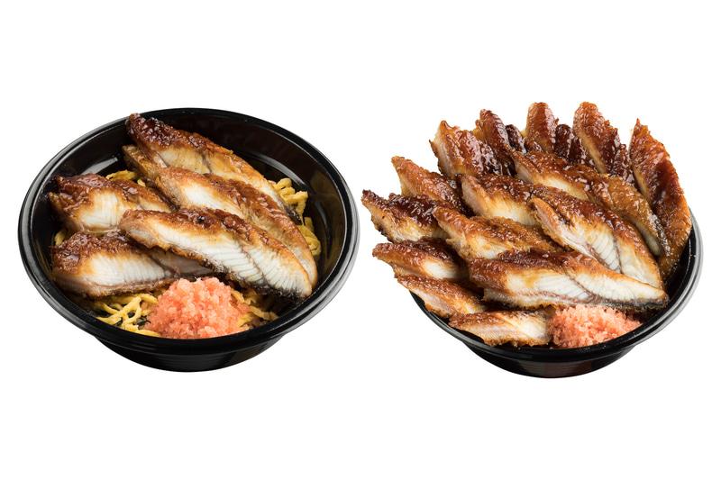 左が「うな丼シングル(5枚)」(640円)、右が「うな丼トリプル(15枚)」(1520円)