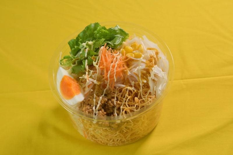「キーマカレー風パリパリ麺サラダ」