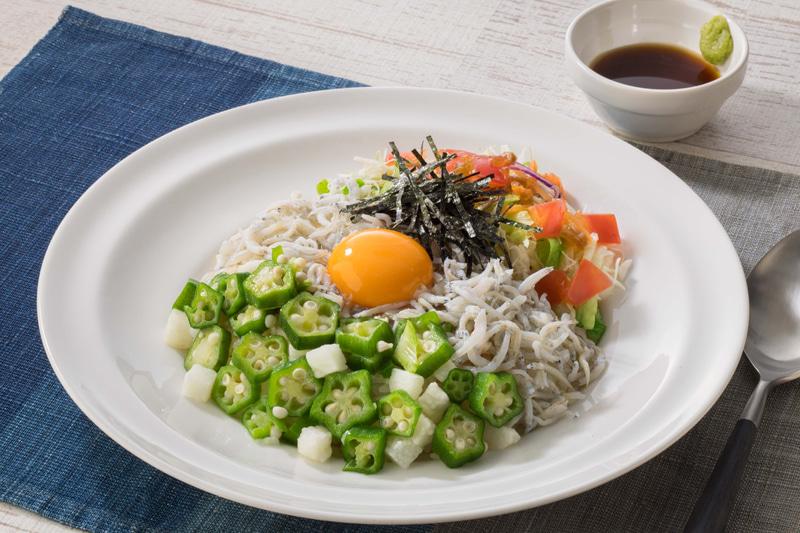 海の幸御飯セット 北海道産ほたて貝柱とねぎとろ・釜あげしらす(味噌汁・漬物付き)