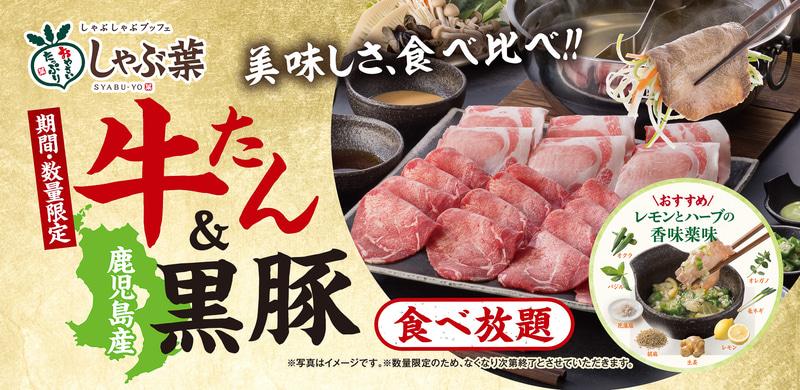しゃぶ葉「牛たん&鹿児島産黒豚食べ放題」