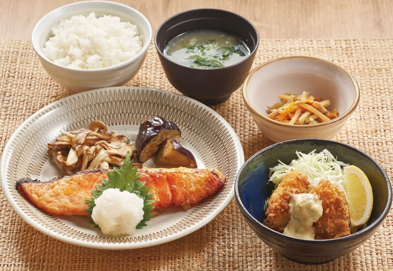 キングサーモンの西京焼きと広島産牡蠣フライ膳