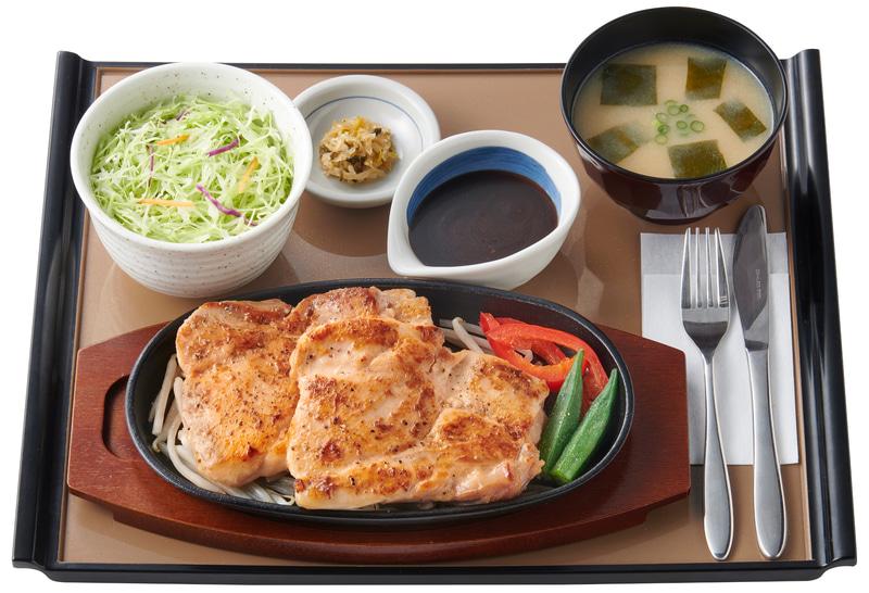 W・筋肉定食 皮なし鶏もも肉のステーキ2枚(1290円)