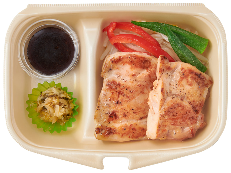 テイクアウト「筋肉 皮なし鶏もも肉のステーキ おかずのみ」(640円)