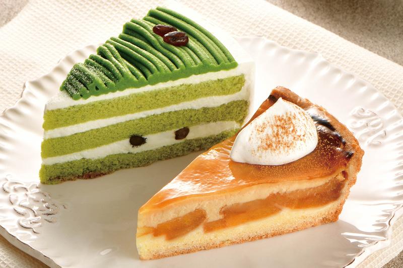 「福岡八女抹茶のショートケーキ」「りんごのベイクドタルト」