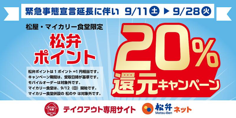 松弁ポイント「20%還元キャンペーン」