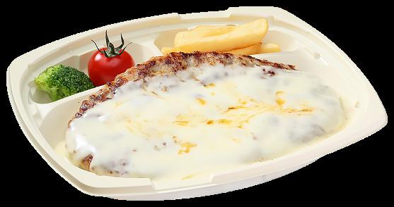 フォンデュ風チーズハンバーグ