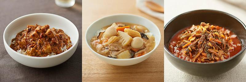 左から「ごはんにかける 麻婆豆腐」「ごはんにかける 八宝菜」「ごはんにかける ユッケジャン」