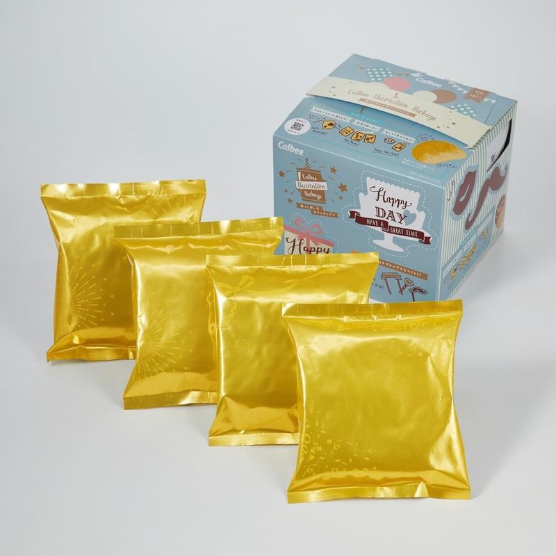 バルーンをイメージした金色、柄はクラッカー・花火・リボンの3種類