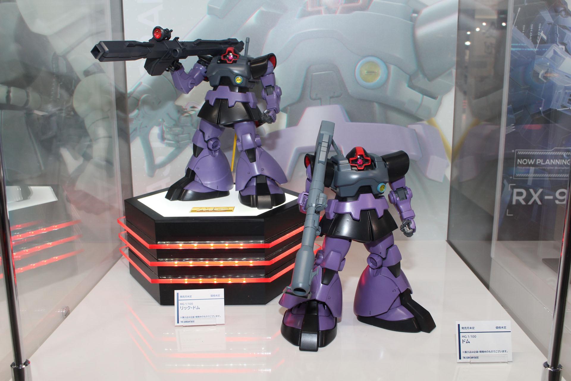 リニューアル版「MG 1/100 リック・ドム」(左)とリニューアル版「MG 1/100 ドム」(右)。発売日、価格は未定