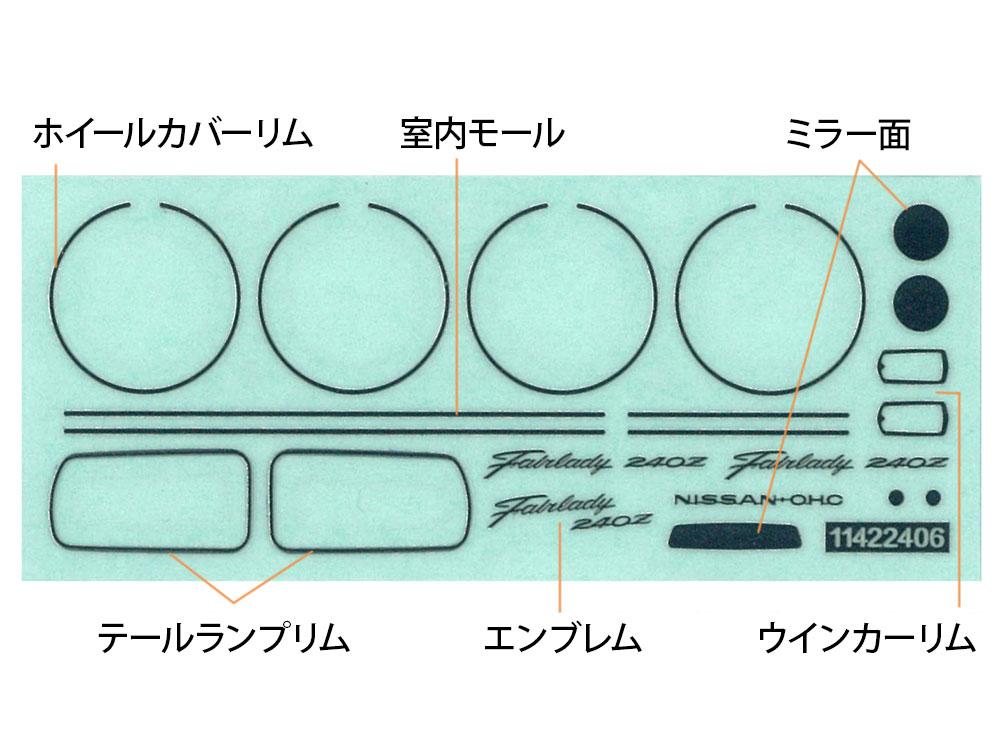 メッキ部分用にインレットマークを用意されており、貼るだけで金属の光沢を再現できる