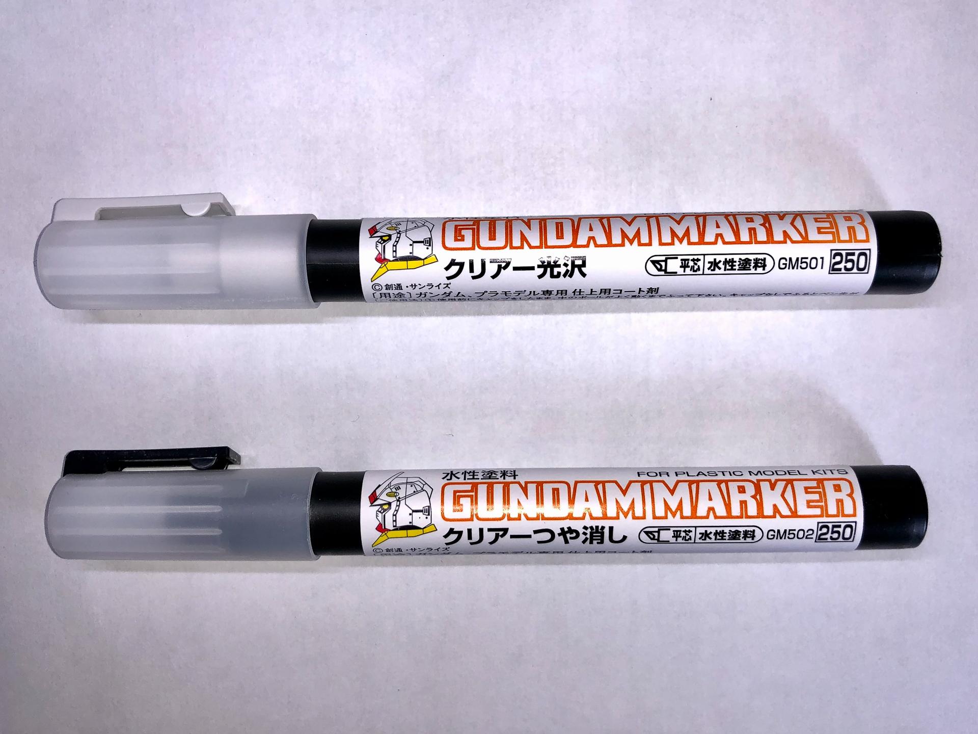 新発売の「ガンダムマーカー クリアー」。「ガンダムマーカーエアブラシシステム」で使用するためにマーカー型容器になったような形になっています。