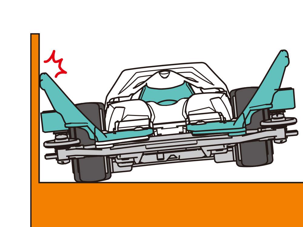 コーナリング中にマシンが外側に傾いた時にコースフェンスに接触して傾きをおさえ、コースアウトを防止