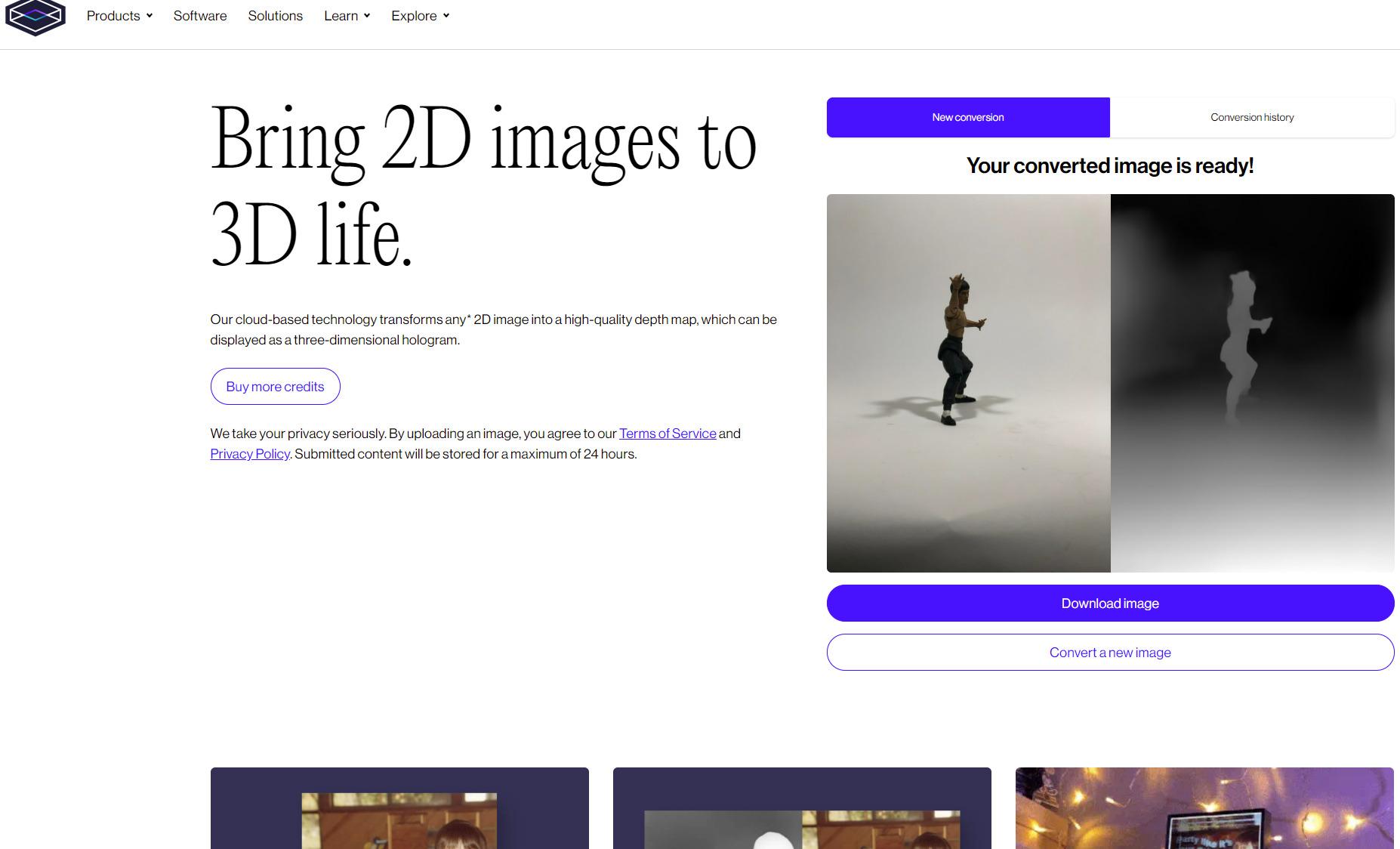 Bring 2D images to 3D lifeのホームページ。普通の写真をアップロードするだけで手軽に3D画像が変換されてダウンロードできるようになる