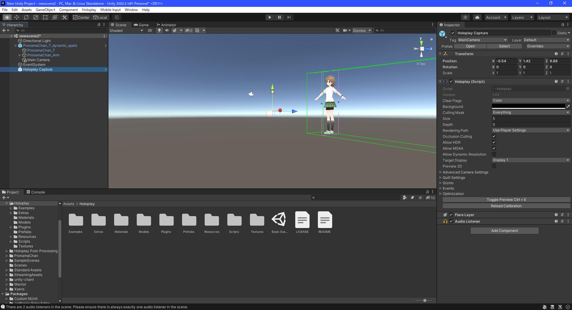プラグインインポート後は「Holoplay Capture」が「Hierarchy」に追加できるようになる。これを通常のカメラと同じように調整する事で、「Looking Glass Portrait」上に3Dモデルが表示できるようになる。なお、こちらについても実際に実行ファイルを書き出して動作する事までは確認できたが、ここで作成した「Looking Glass Portrait」用の実行ファイルが他のPC環境の「Looking Glass Portrait」上で実行できるかは不明だ
