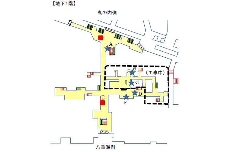 コンコース地下1階の見取り図。青い★マークがエレベーターの新設箇所。赤い■が既設エレベーター