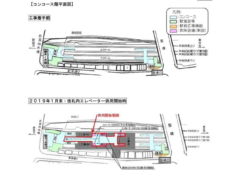 工事着手前とエレベーター供用開始後のコンコース階平面図