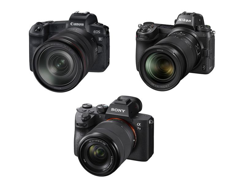左上:キヤノン EOS R、右上:ニコン Z 7、下:ソニー α7 III