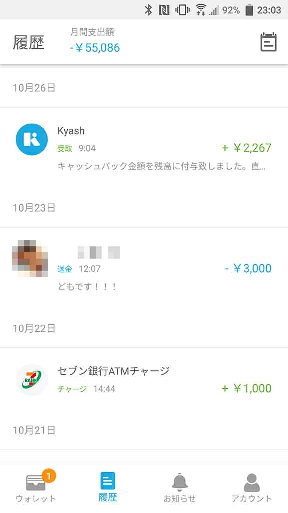 Kyashのキャッシュバック例。上限12万円近くまで使ったことで約2,000円をキャッシュバック