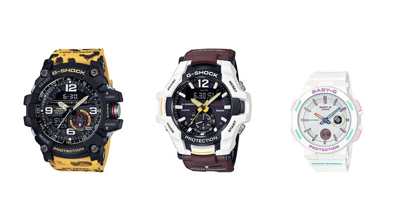 左からGG-1000WLP(G-SHOCK)、GR-B100WLP(G-SHOCK)、BA-255WLP(BABY-G)