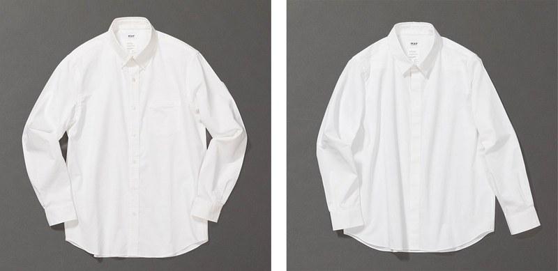 左はオックスフォード素材のメンズシャツ、右はブロード素材のウィメンズシャツ