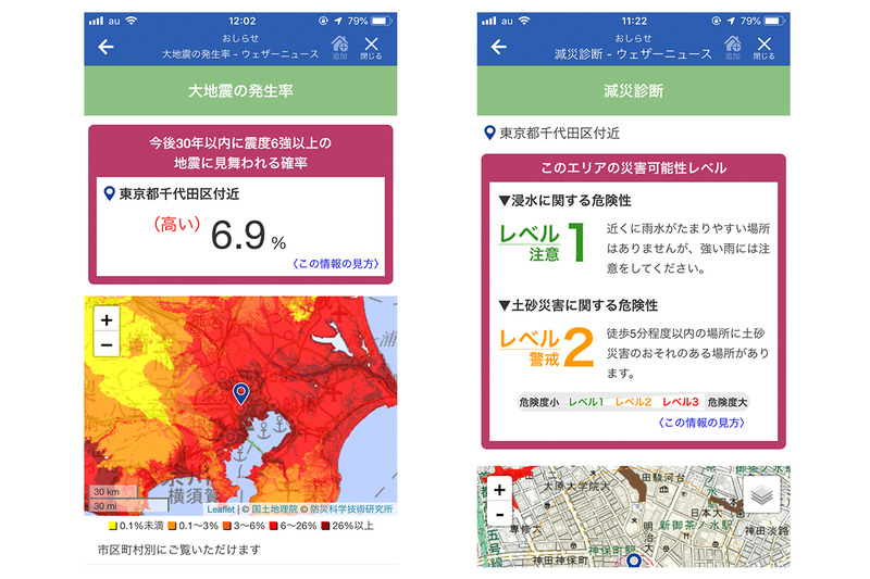 左:大地震の発生率、右:減災診断