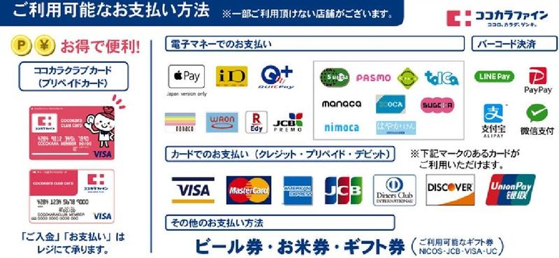 ココカラファインで利用可能な支払方法