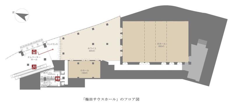 梅田サウスホールのフロア図