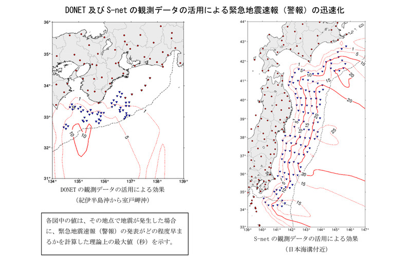 DONET及びS-netの観測データの活用による緊急地震速報(警報)の迅速化に関する気象庁発表資料