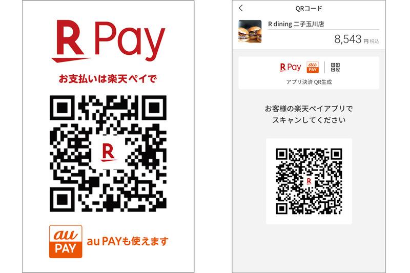 共通QRコード台紙(左)と楽天ペイ加盟店アプリ(右)