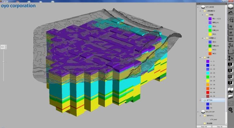 3次元地盤解析システムにより作成された3次元地盤モデル(イメージ)