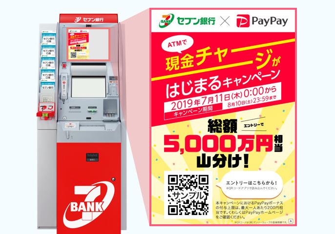 セブン銀行ATMの上部画面に表示されるQRコードをスキャンしてエントリー