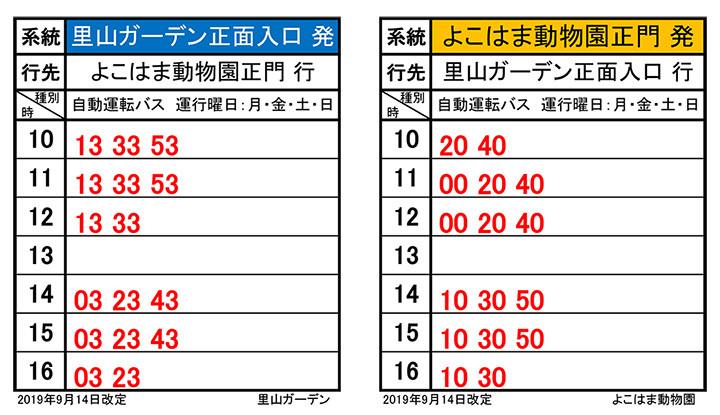 実証実験で使用する自動運転バスの時刻表