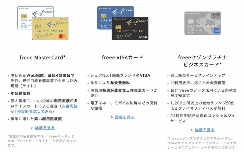 大別して3種類のカードブランド(カード会社)が存在するfreeeカード