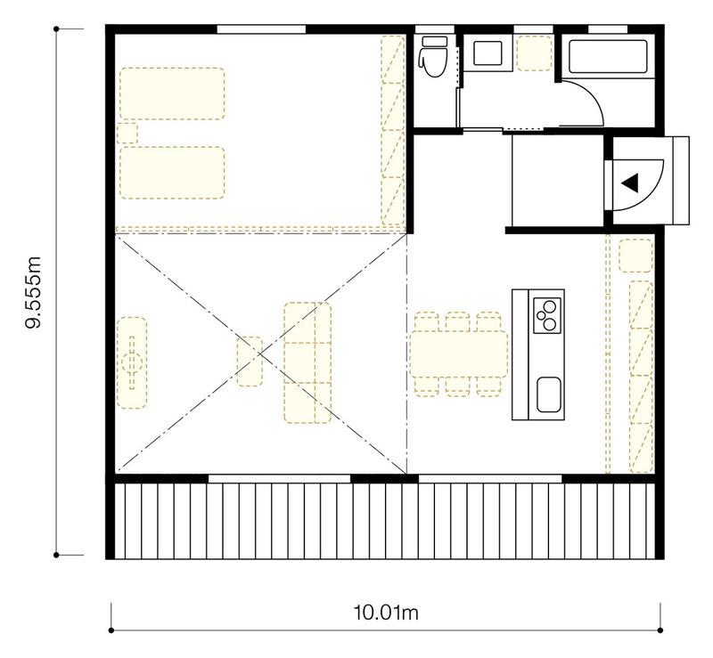 「陽の家」間口5間半(10.01m)×奥行5.25間(9.555m)タイプの間取り例