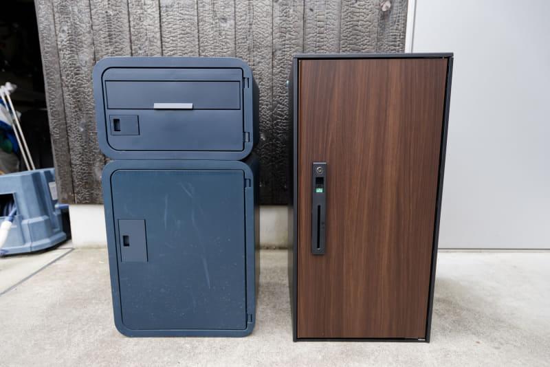 普段使用している宅配ボックス「スマポ」(左)と比較。ラージタイプはスマポのポストタイプと宅配ボックスタイプの2つを合わせたくらいの大きさだ