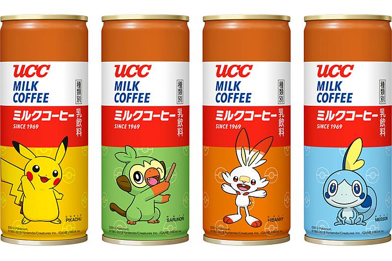 UCC ミルクコーヒー ポケモン缶 250g(左からピカチュウ、サルノリ、ヒバニー、メッソン)