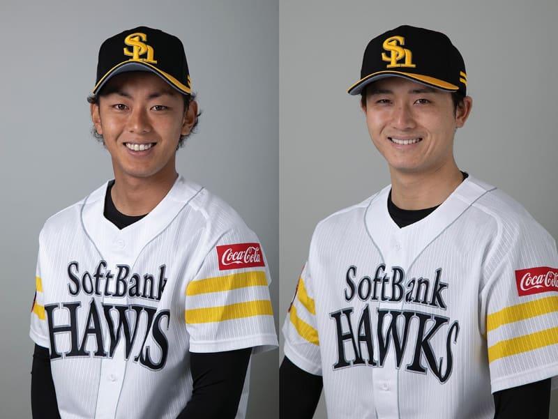 今宮健太選手(左)と髙橋純平選手(右)