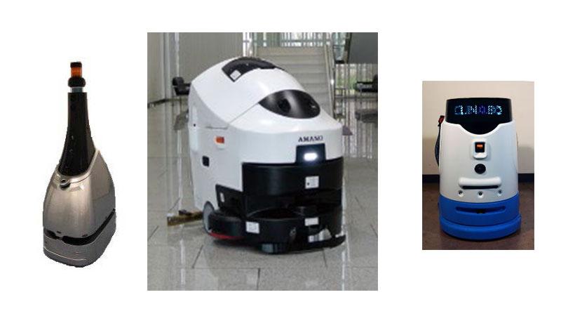 左から警備ロボット、EGrobo、CLINABO
