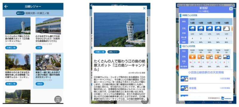 沿線レジャー施設情報・天気情報の画面イメージ