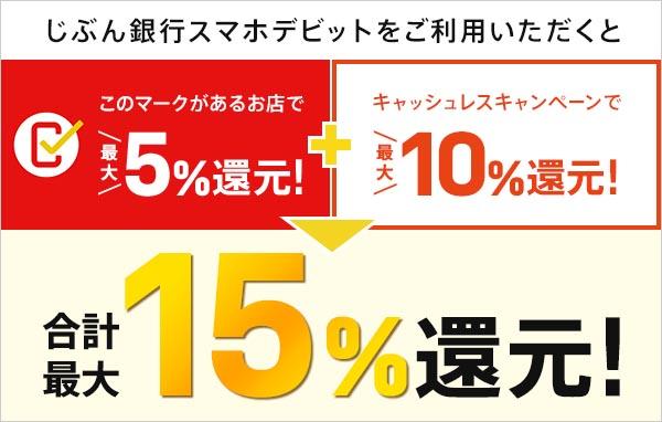 「キャッシュレス・消費者還元事業」対象店舗で利用すれば合計15%の還元が受けられる