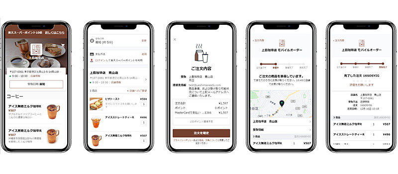スマートフォン用サイトでの事前注文・決済フローイメージ