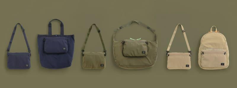 PORTER FOLDABLE 左からサコッシュトートバッグ、サコッシュショルダーバッグ、サコッシュデイパック