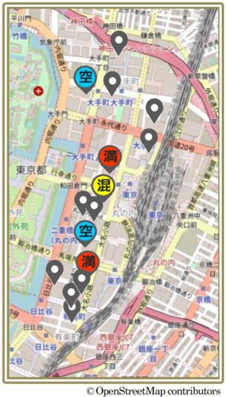 スマホ地図アプリ上の画面イメージ