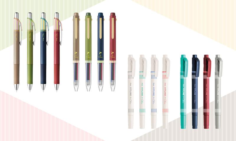 左からエナージェルクレナ4色、アイプラス4色、フィットライン8色