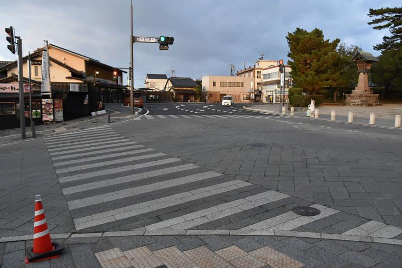 現状の出雲大社と神門通り商店街を結ぶ横断歩道
