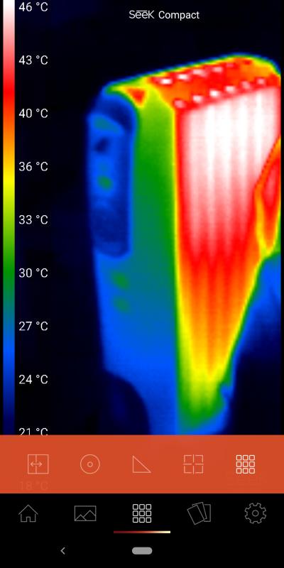 フルフレームモード。9段階の熱それぞれの具体的な温度を表示する