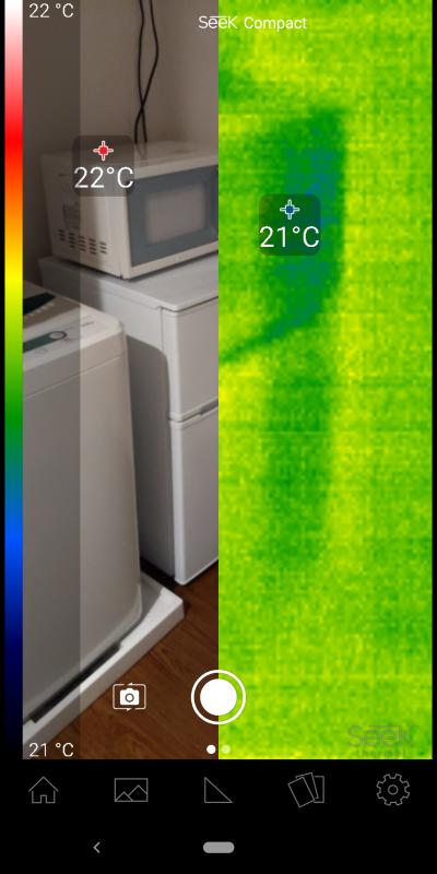 左に実写画像、右にサーマル画像を表示するモードもあるのだが、今回のPixel 3では画角が違っているために使い物にならない