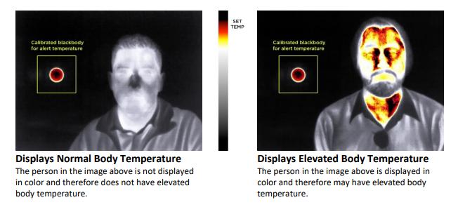 こちらはその応用で、画面の中に置いたデバイスを温度の基準点とし、それを超える体温のユーザーがフレームインすると、色がついて表示される
